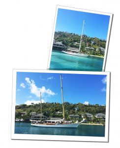 Yachts glide across the shimmering sunny seas of Antigua.