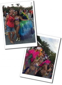Suewherewhywhat & bikini clad revellers at the beachwear parade, Cayman Carnival, Batabano