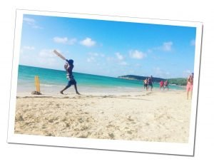 What could be more Caribbean than beach cricket? Men here in action on Dickenson Beach.