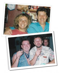 Andy and friends from his days working in Majorca