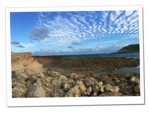 The rocky coastlines of Half Moon Bay, Antigua, Caribbean