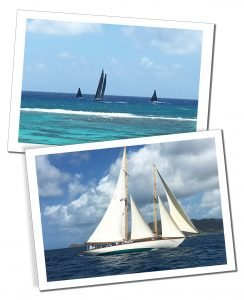 Yachts racing across the waves in the sunshine of Sailing Week, Antigua