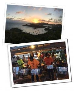 Sunset from the hill, looking to the bay of Shirley Heights, Antigua & a steel band play in a beach bar