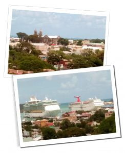 Huge Ocean liners & ferries docked at The Port of St Johns, Caribbean