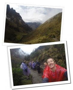 Day 2, rain on the Inca Trail, SuewhereWhyWhat takes a selfie of the group