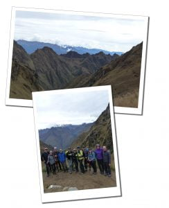 Stunning at the top of the mountain & a group shot of the Hikers with SueWhereWhyWhat, Inca Trail, Peru