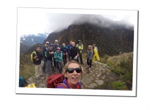 SueWhereWhyWhat with fellow hikers, up among the clouds at top the mountain, Inca Trail, Peru