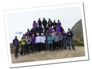 A fantastic team shot with 3 rows of all the Hikers and Guides, at basecamp on the Inca Trail, Peru