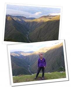 SueWhereWhyWhat with breath-taking scenery of the Inca Trail behind her, Peru