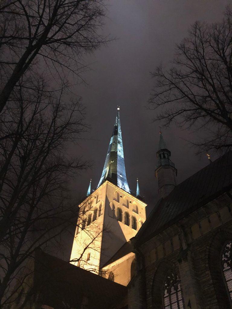 Night view St.Olafs church, Tallinn, Estonia