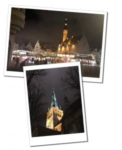 Night views of the illuminated Town Square and St.Olafs church, Tallinn, Estonia