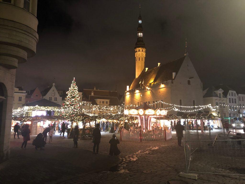 Illuminated Town Square, Tallinn Old Town, Estonia