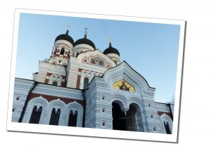 The impressive domes and ornate decoration of the beautiful Alexander Nevsky Cathedral in Tallinn, Estonia