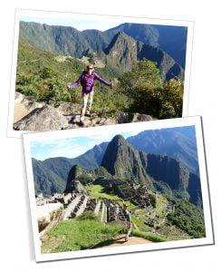 SueWhereWhyWhat standing overlooking Machu Picchu, Peru