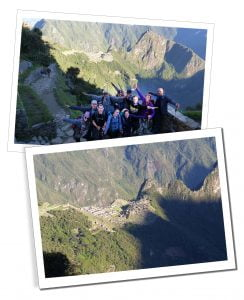 SueWhereWhyWhat & fellow hikers, The Sungate, Inca Trail, Machu Picchu, Peru