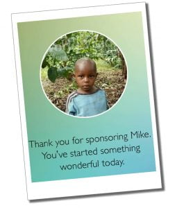 An official picture of Mike a young African child sponsored by SueWhereWhyWhat