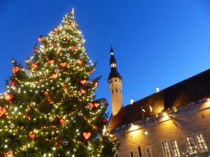 Tallinn town hall and Christmas tree