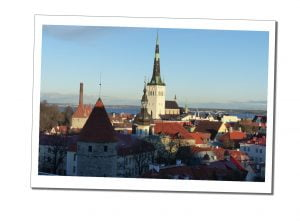 The famous viewpoint, over the roof tops Tallinn, Estonia on a sunny crisp winters day.
