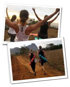 Two pictures of SueWhereWhyWhat One practising Yoga at Sunrise in Viñales, the other walking with a friend along a dirt track with a Yoga mat on their backs