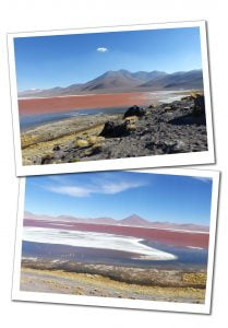 Views of the Pink Lake, Laguna Colorada with distant flamingoes feeding and the mountain range behind.
