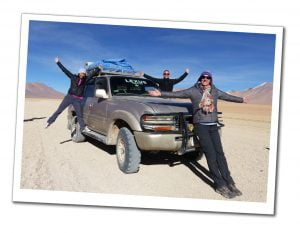 SueWhereWhyWhat a Jeep and two friends, Salt flats tour, Bolivia