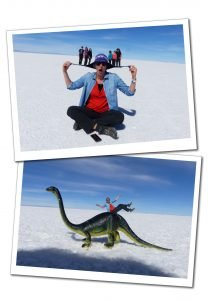 SueWherewhywhat & friends & a toy diplodocus dinosaur, Uyuni Salt flats in Bolivia