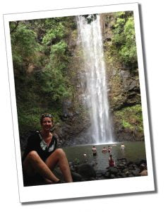 Suewherewhywhat & a waterfall in Hawaii