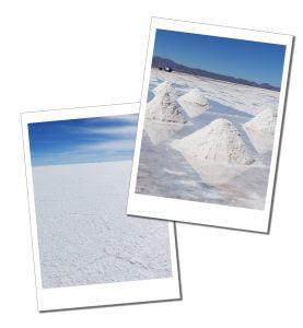 Piles of salt and a salt pavement, Salar de Uyuni (Salt Flats) Bolivia