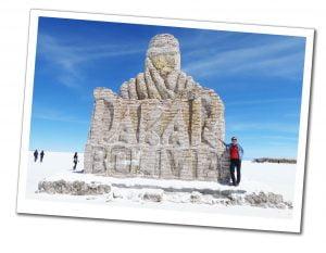 SueWhereWhyWhat & Salt Museum sign, Salar de Uyuni (Salt Flats) Bolivia