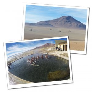 A view of The Salvador Dahli Rocks on the Bolivian plains and SueWhereWhyWhat & friends sitting relaxing in a Hot Spring at Polque, Bolivia