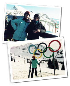 SueWhereWhyWhat & friend Skiing at the Olympic site in Whistler Canada