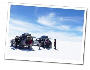 2 silver jeeps & 8 people, Salar de Uyuni (Salt Flats) Bolivia