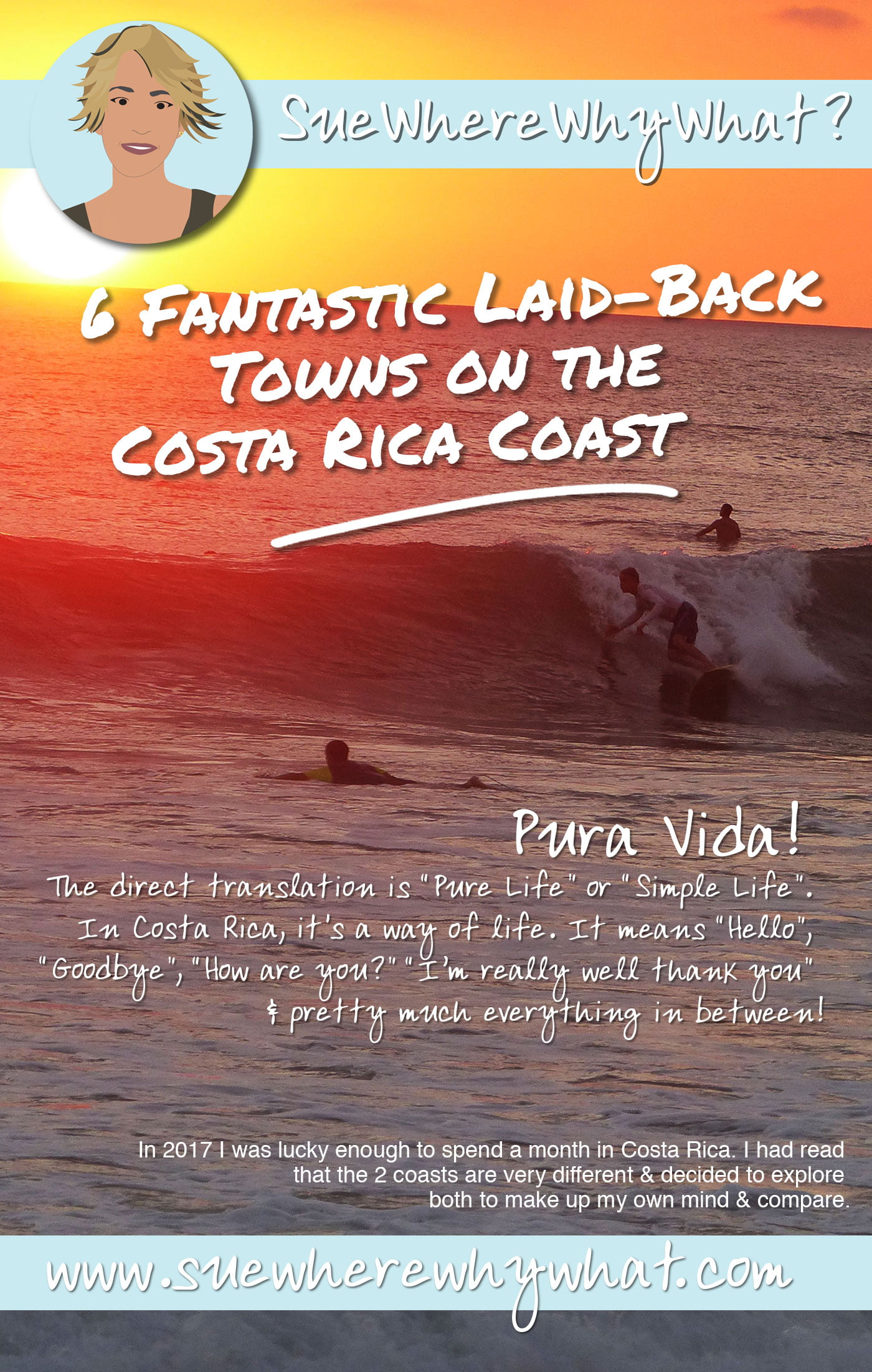 A Guide to some of the more relaxed places to stay on the Costa Rica Coasts. A comparison of the Pacific & Caribbean Coasts. Includes Samara, Santa Teresa, Quepos, Cahuita, Puerto Viejo & Tortuguero. Pura Vida!