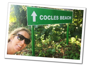 SueWhereWhyWhat with a sign for Cocles Beach this way! Costa Rica Coast