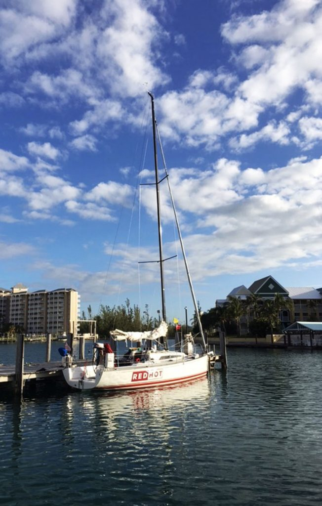 Red Hot Yacht moored in Grand Bahama, Bahamas