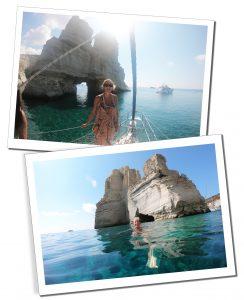Snorkelling near Kleftiko from the boat Eleni, Milos boat tour, Greece
