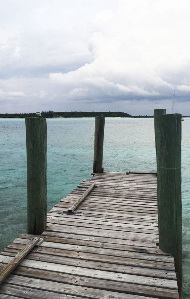 View of sea from Jetty, Little Famers cay, Bahamas