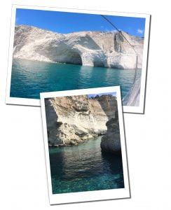 The sea & white rocks near Sarakiniko beach, Milos boat tour, Greece