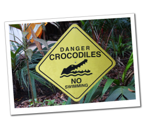 A yellow sign, Saying Danger Crocodiles, No Swimming with a picture of a snapping crocodile, Costa Rica