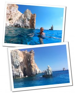 Polyaigos is a small island just off Milos with orange & white rocks, Milos Boat Trip, Greece