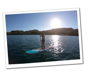 SueWhereWhyWhat demonstrating her SUP - Stand up Paddleboarding skills, Costa Rica