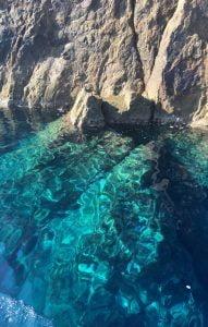 Vani Cliffs & blue & green sea, Milos Boat Tour, Greece