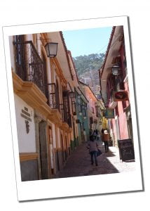 A street, looking uphill in Calle Jaen in La Paz, Bolivia