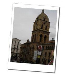 The Igledsia San Fransico Catholic church in La Paz, Bolivia