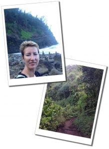 SuewhereWhywhat with Piles of stones on Hanakapi'ai beach Kauai, in Hawaii & the inland trail