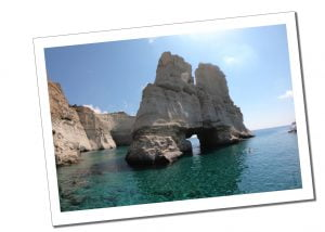 Kleftiko rocks, blue sky & sea, Greece