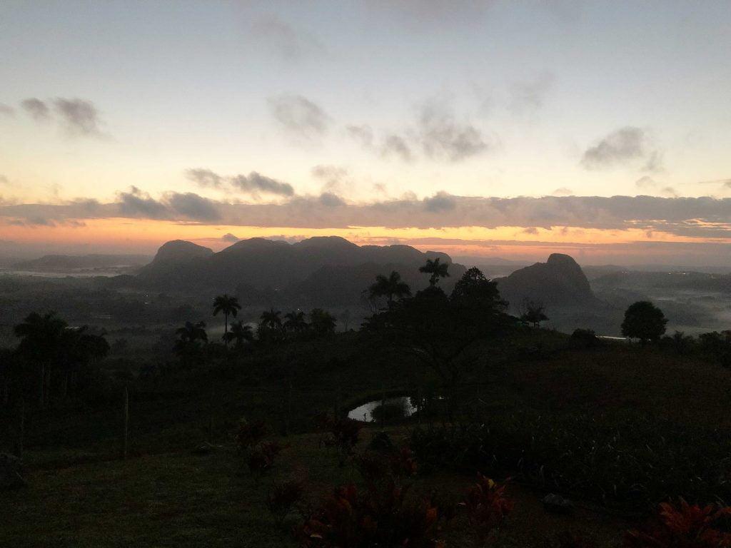 A heavenly view across the misty plateau at Los Aquaticos, Vinales, Cuba at day break