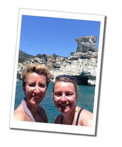Suewherewhywhat & her sister by the sea in Kleftiko, on the Milos Boat Tour in Greece