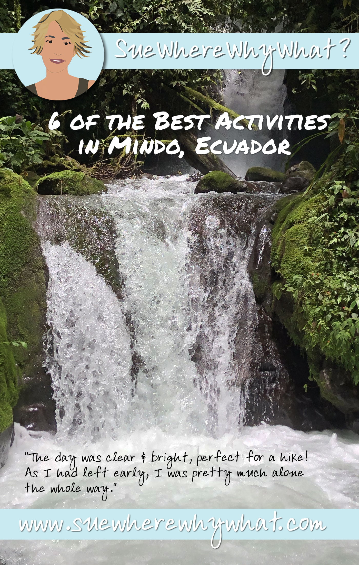 6 of the Best Activities in Mindo, Ecuador. Includes Artesan Chocolate Making, Butterfly Farm, Tarabita (Cable Car), Waterfall Hike, Night Walk & Bird Watching.