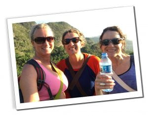 Three Woman with sunglasses drinking water, Viñales Hike, Cuba